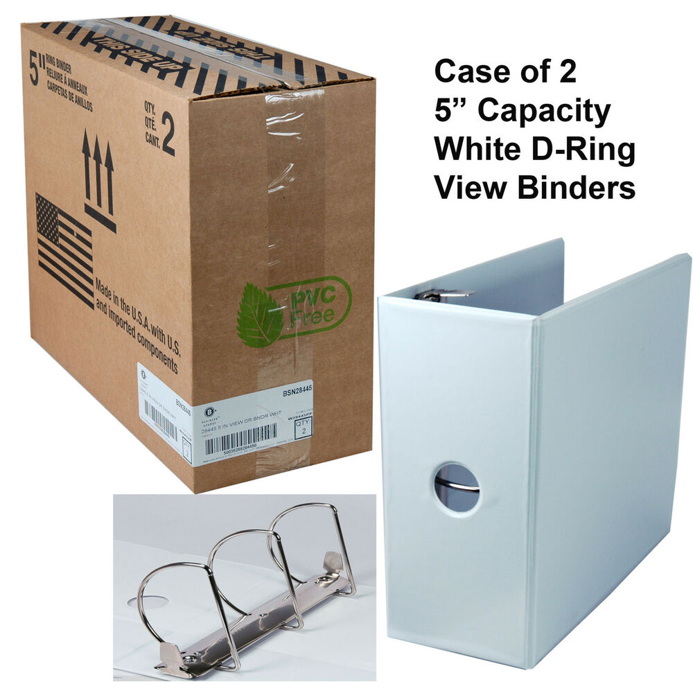 "Carton Of 2, White 5"" Capacity Business Source D-Ring View"