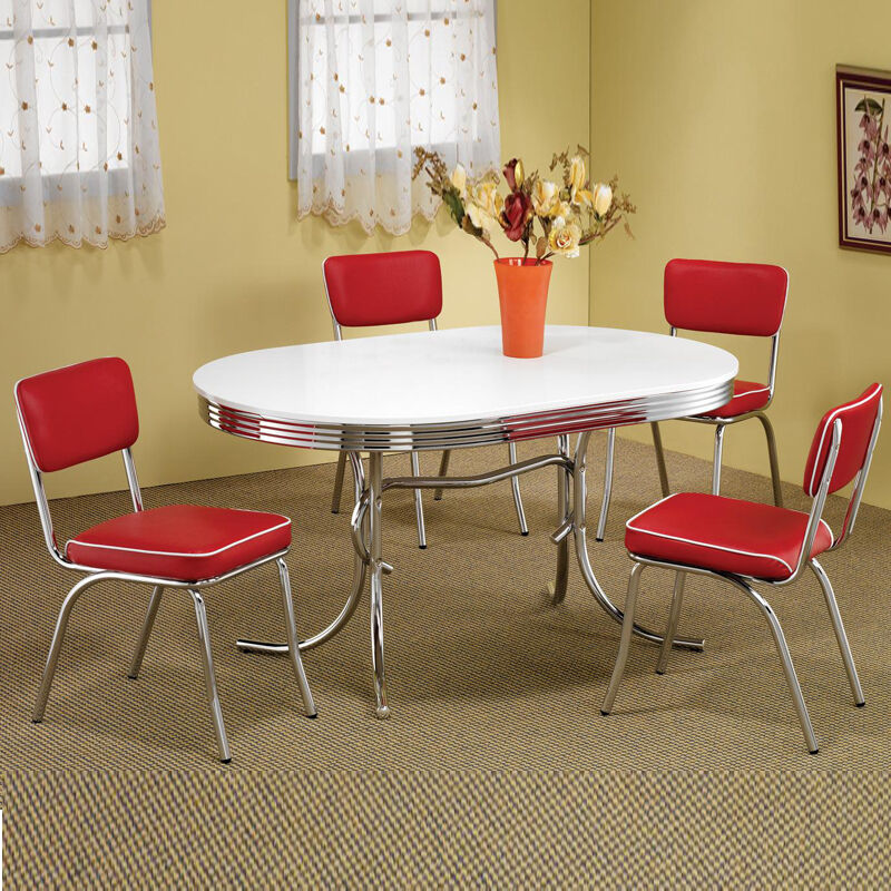 Retro 1950 39 S Oval Table Red Black Cushion Chair 5 Pc Chrome Kitchen Dining Set Ebay