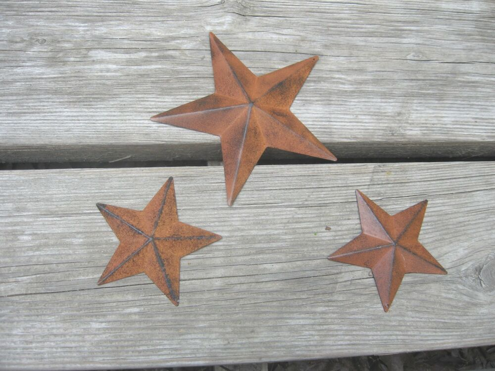 3 primitive rusty tin barn stars for home decor one 5 5 for Barn star decorations home
