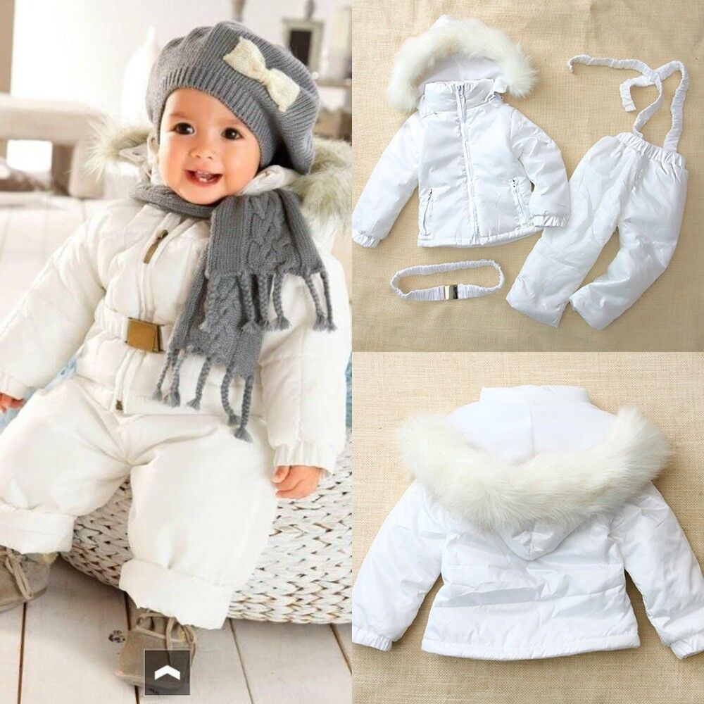 Baby Boy Girl Winter Warm White Snowsuits Jacket Coat Pant