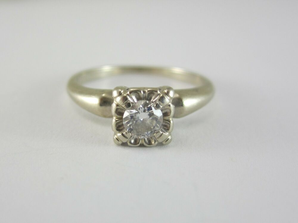 BEAUTIFUL LADIES VINTAGE 14K GOLD DIAMOND SOLITAIRE ENGAGEMENT RING 2 ...
