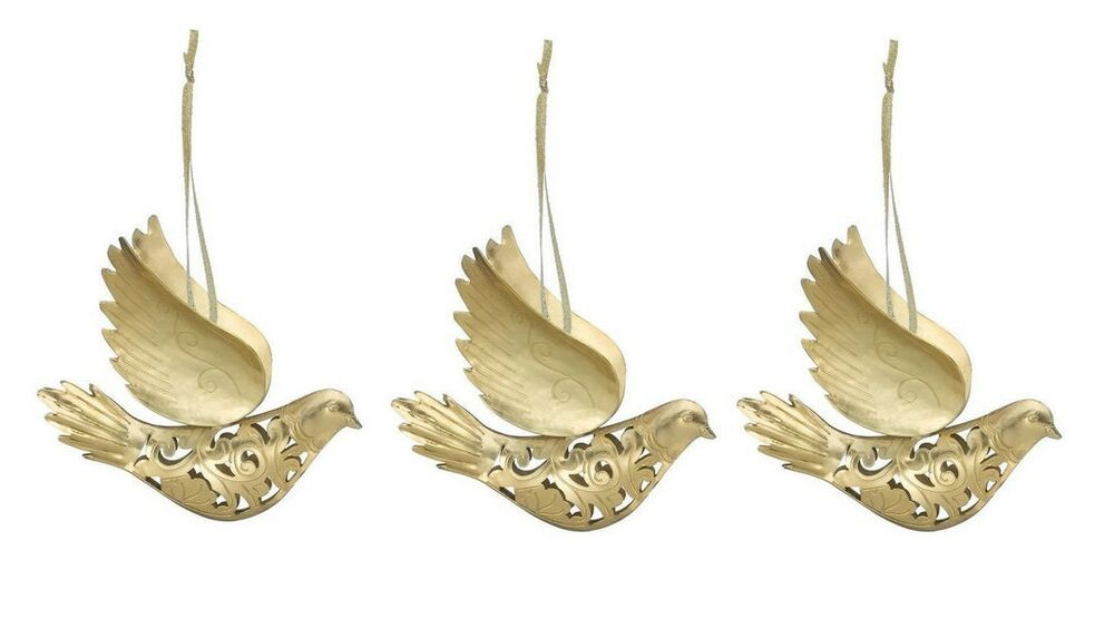 Dove Christmas Tree Ornament Set Of 3 Handcrafted Metal