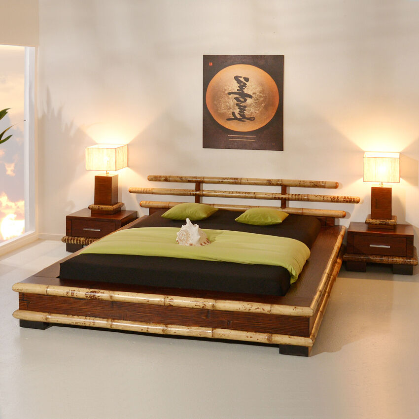 bambusbett 140x200 papua bambus futonbett japanisch holzbett doppelbett japan ebay. Black Bedroom Furniture Sets. Home Design Ideas