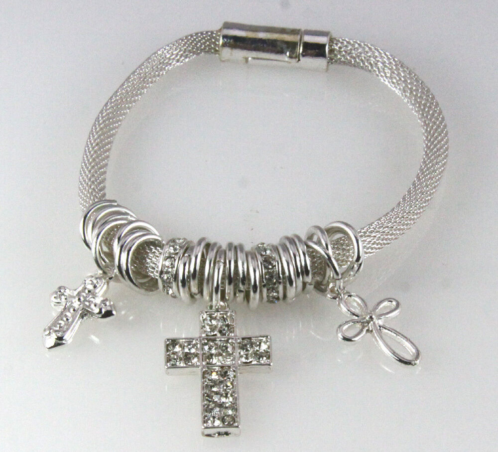 4030844 Cross Charm Bracelet Magnetic Christian Jesus