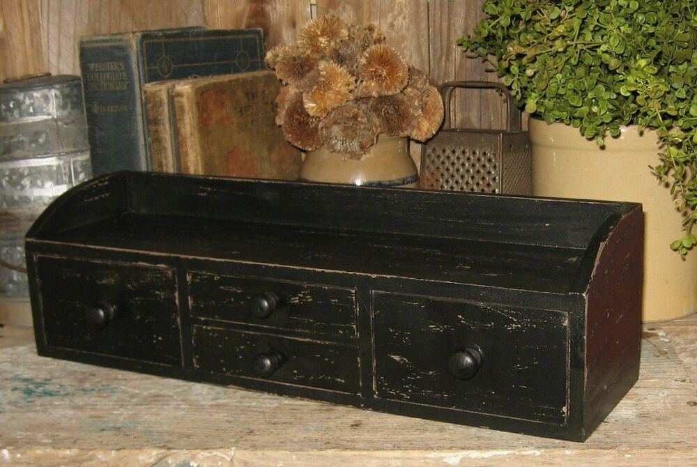 Primitive wood table or wall spice box apothecary cabinet