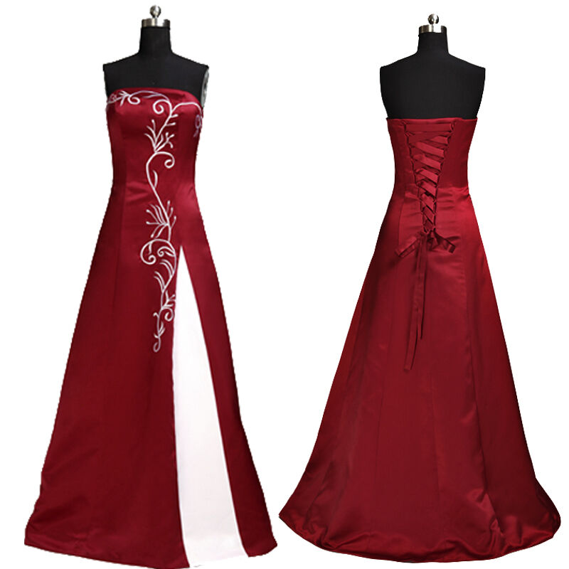 Wine Red wedding dress evening dress bridesmaid dress gown ded prom ...