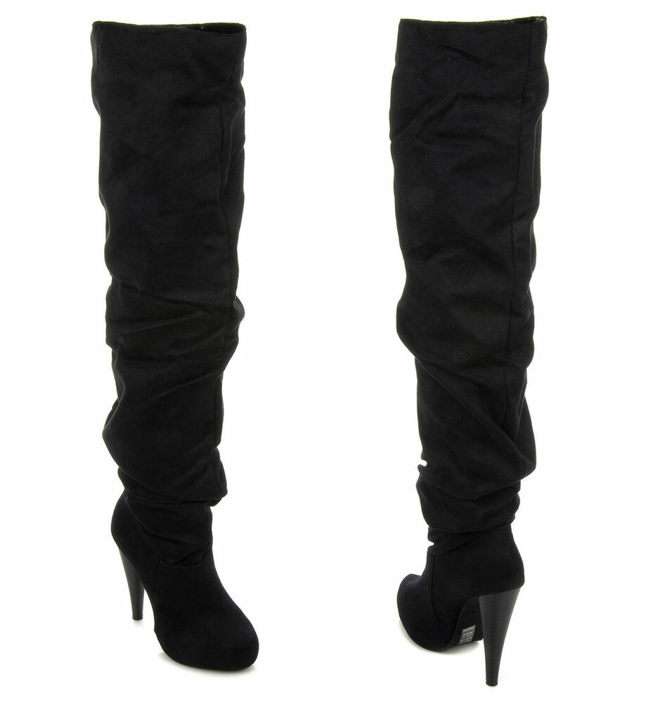 New Michael Antonio Women's Thigh High Slouchy Ruching Heel ...
