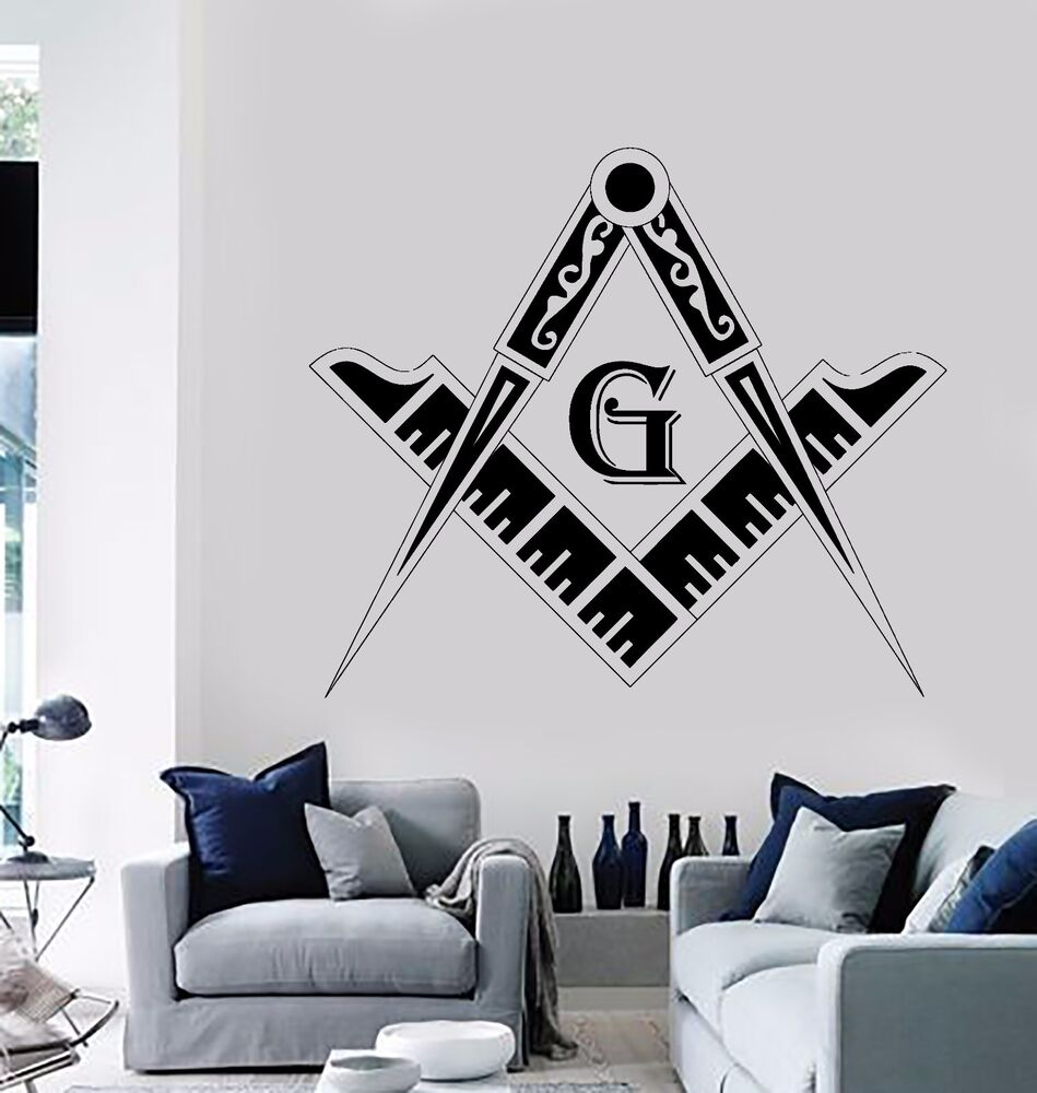 Wall Stickers Vinyl Decal Masonic Square and Compass Freemasons (z1158 ...