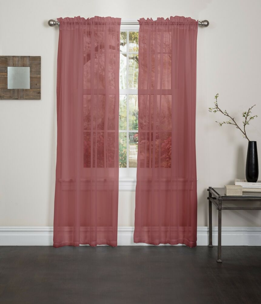 BURGUNDY SHEER VOILE WINDOW CURTAIN PANEL, GREAT QUALITY ...