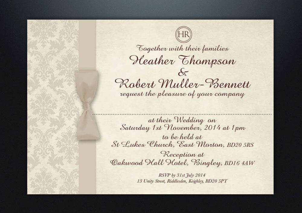 Evening Wedding Reception Invitations: PERSONALISED DAMASK WEDDING DAY & EVENING INVITATIONS WITH