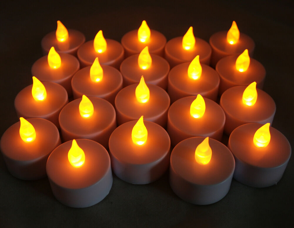 Qty 20 Battery Operated Flickering Amber Led Tealights