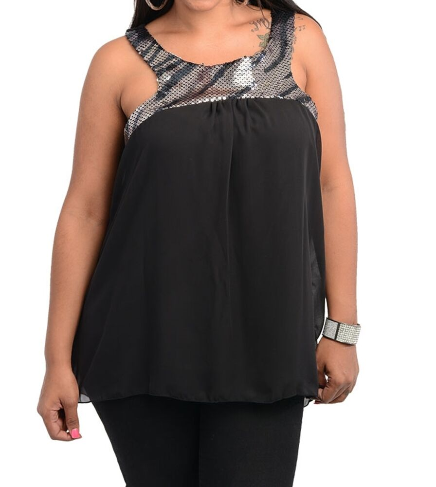 WOMENS PLUS SIZE CLOTHING BLACK CHIFFON TOP WITH SEQUINED ...