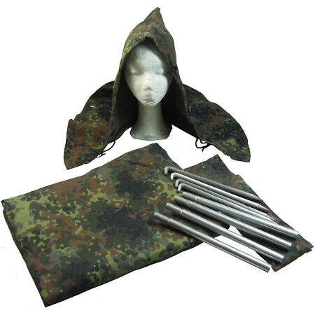 img-Original German Army Flecktarn Zeltbahn Set - Grade 1 Tent Cover Poncho WW2 Hood