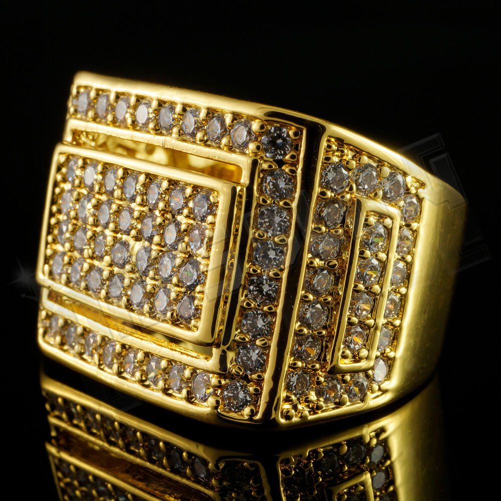 18k Gold Iced Out Hip Hop Championship Bling Micropave