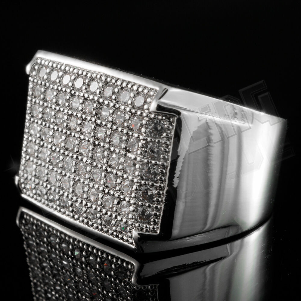 18K White Gold Silver Iced Out HipHop Wedding Bling MICROPAVE CZ Mens Pinky Ring EBay