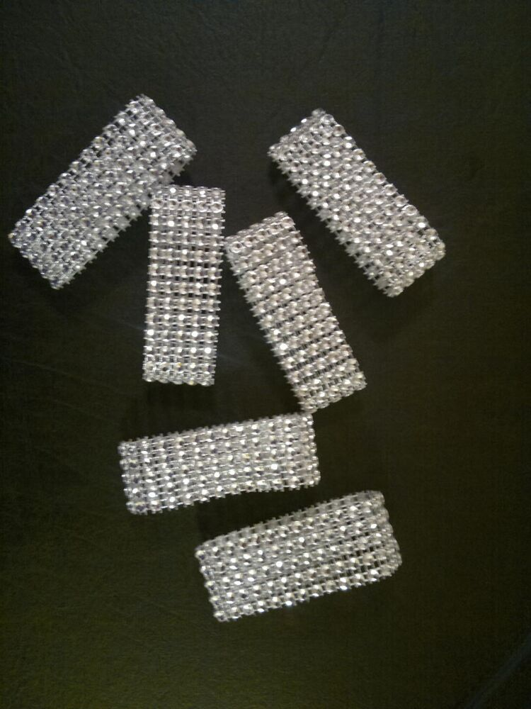 Sparkly Bling Nails: 10 Diamond Rhinestone Bling Napkin Rings 5 Row