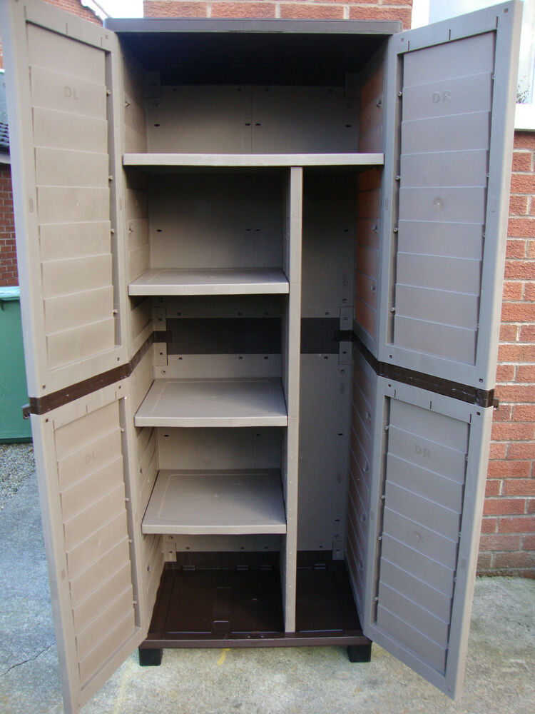 1000 Images About Garbage Can Shed On Pinterest: 6ft Plastic Storage Utility Shed Cabinet Shelves For