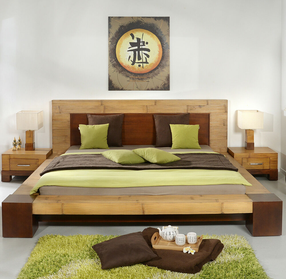 bambusbett 140x200 tawau bettrahmen bettgestell holzbett doppelbett futonbett ebay. Black Bedroom Furniture Sets. Home Design Ideas