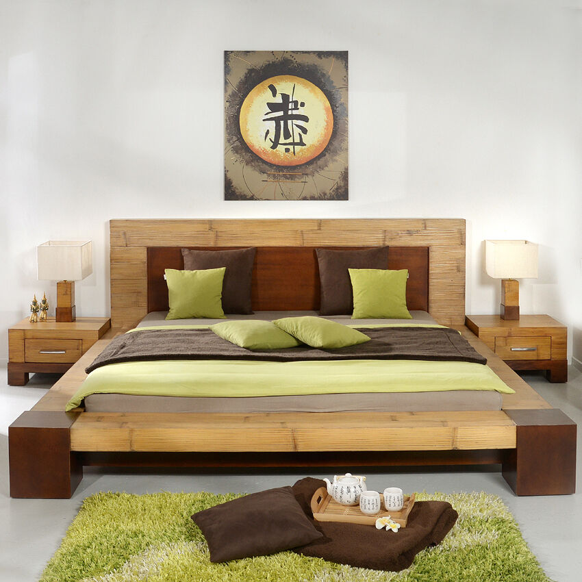 bambusbett 200x200 tawau doppelbett bettgestell futonbett bettrahmen holz massiv ebay. Black Bedroom Furniture Sets. Home Design Ideas