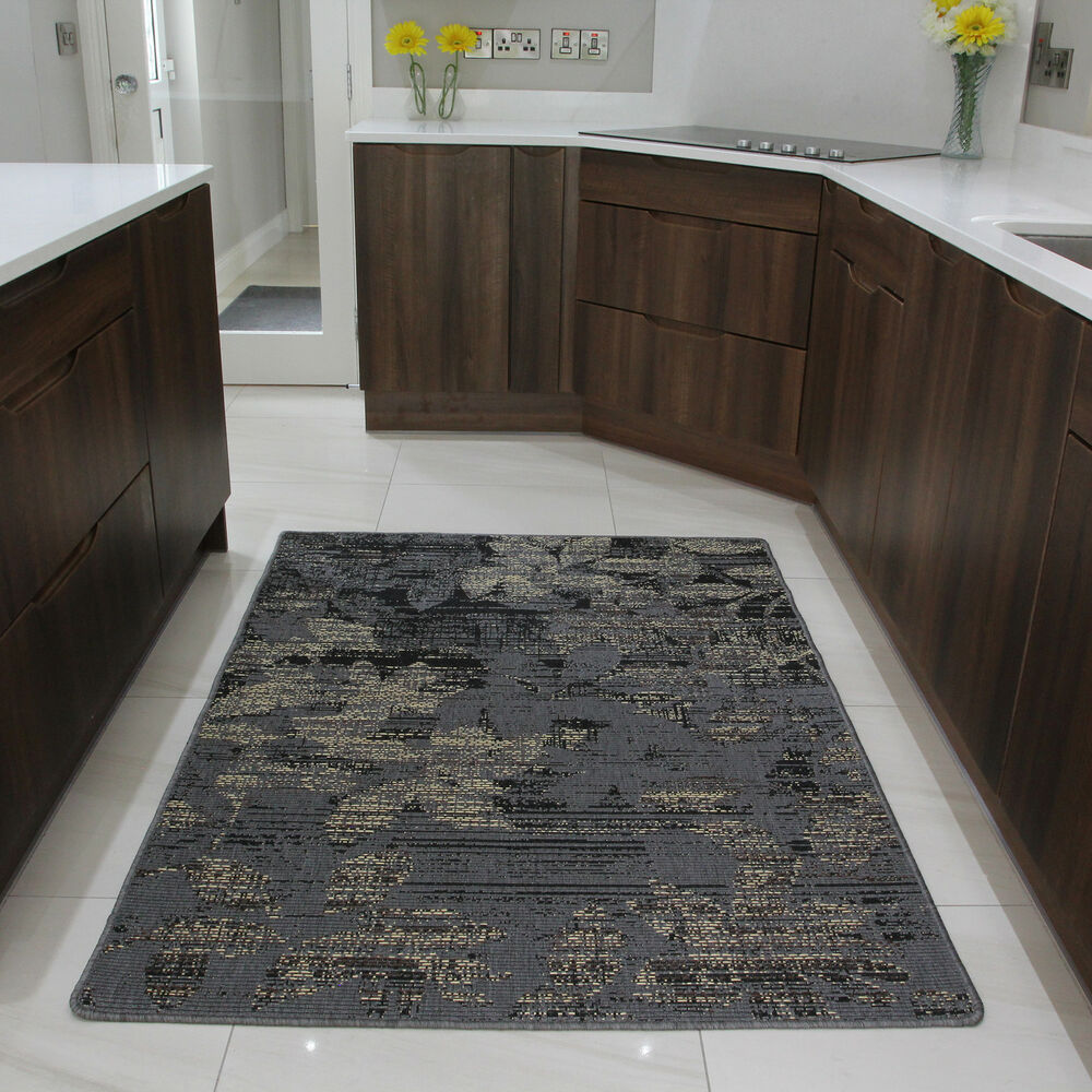 Brown rubber backed modern kitchen rug flat weave easy for Large kitchen area rugs