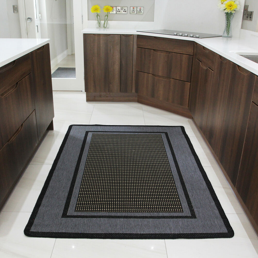 Rubber Kitchen Mats: Small Large Modern Rugs Grey Non Slip Rubber Flatweave