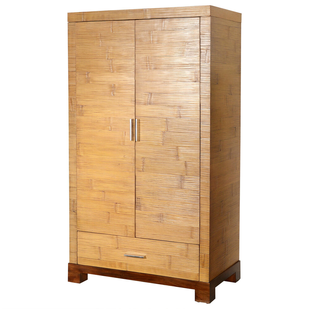 bambusschrank tawau schrank holzschrank kleiderschrank garderobe massiv natur ebay. Black Bedroom Furniture Sets. Home Design Ideas