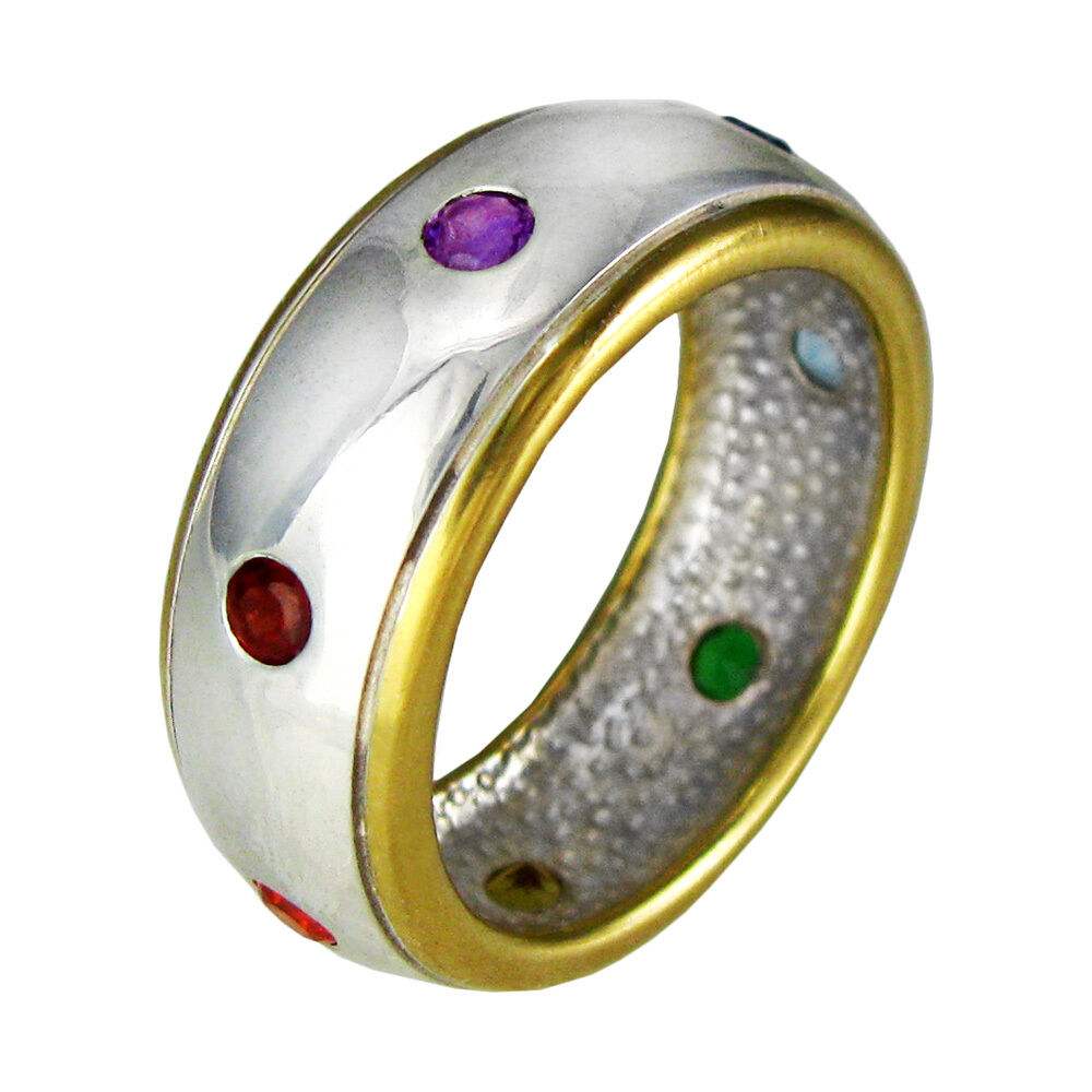 sterling silver gold vermeil seven chakra stones ring