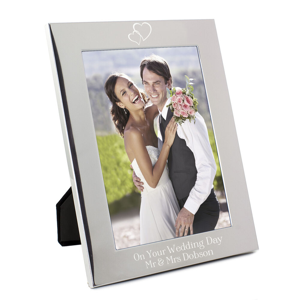 Wedding Photo Frames: Personalised Silver Hearts 5x7 Photo Frame
