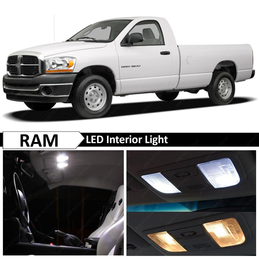 9x white led lights interior package kit for 2002 2008 dodge ram ebay. Black Bedroom Furniture Sets. Home Design Ideas