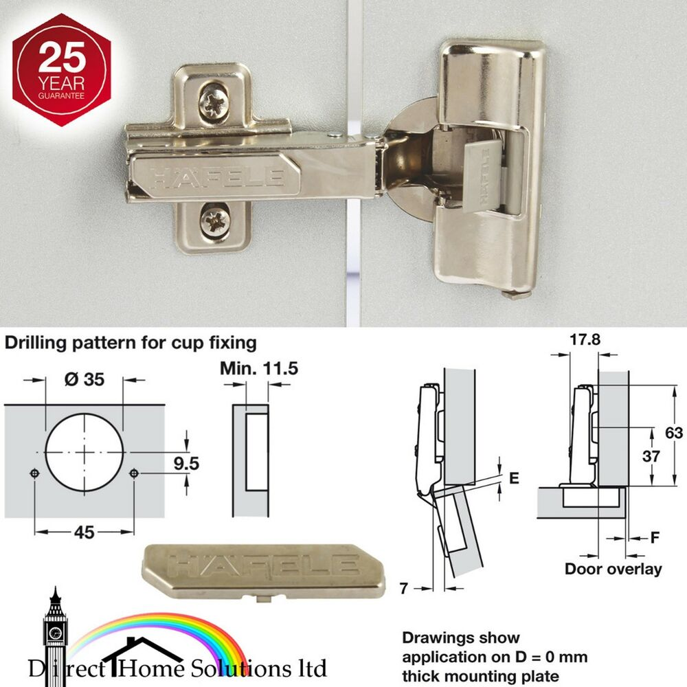 Kitchen Cabinet Hinges Soft Close: HAFELE CONCEALED KITCHEN DOOR CABINET STANDARD CLICK ON