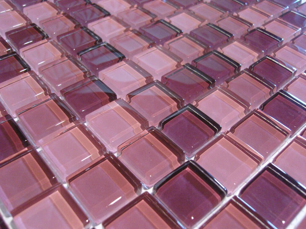 glasmosaik mosaik fliesen klarglas 8mm brombeer pink rose lila bad dusche pool ebay. Black Bedroom Furniture Sets. Home Design Ideas