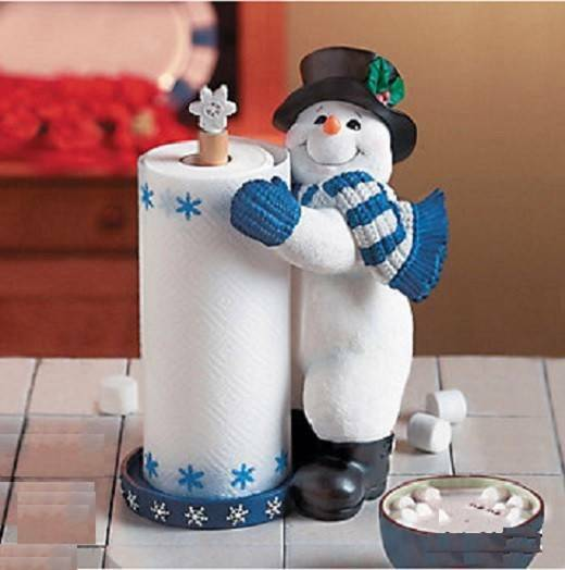 Festive Holiday Snowman Paper Towel Holder Kitchen