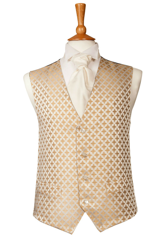 Mens boys tudor gold and ivory wedding dress suit for Mens ivory dress shirt wedding