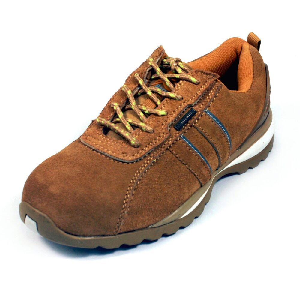 leather steel toe safety tennis shoes honey suede