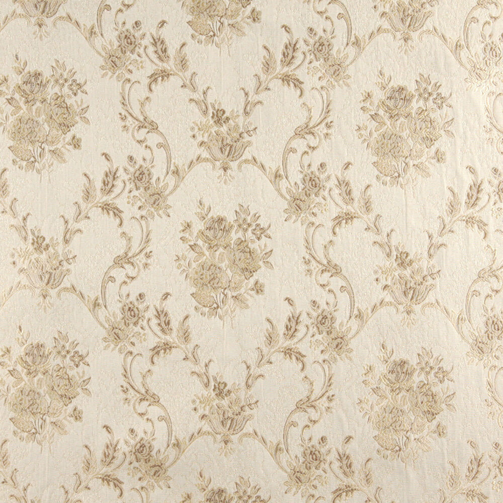 A0014d ivory embroidered floral brocade upholstery drapery for Upholstery fabric