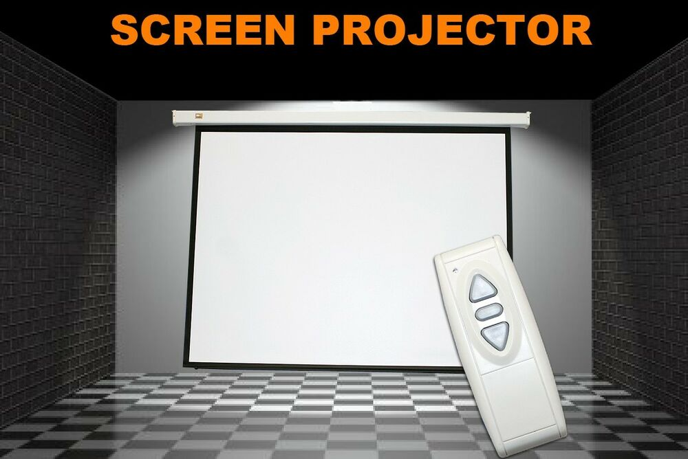 Electric Motorized Projector Projection Screen W Remote