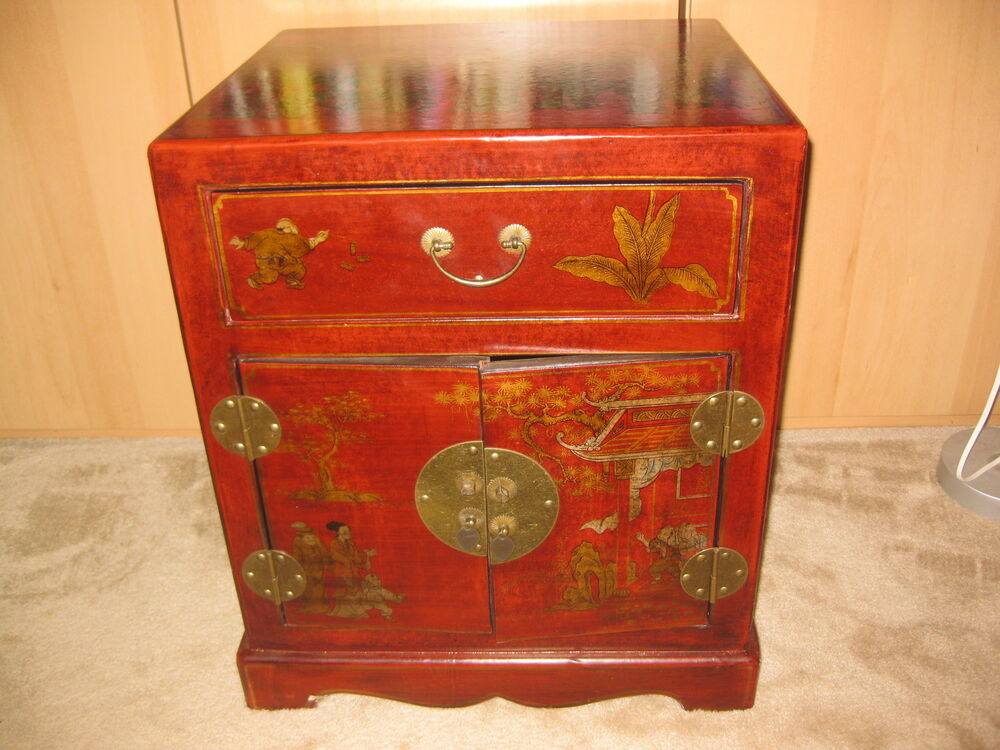 Small Chinese Lacquered Storage Cabinet 24 In 60cm Ebay