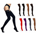 NEW Lace Top 80 Denier Sheer Hold-Ups Stockings ,9 Various Colours- Sizes S-XL