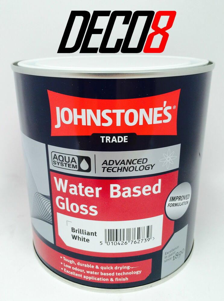 Johnstone 39 S Trade Aqua Water Based Gloss Paint Brilliant White 1ltr 5lt Ebay
