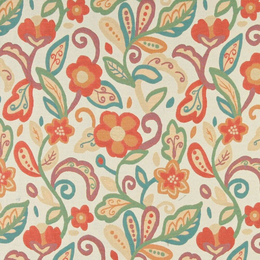 A0023a teal green orange beige floral contemporary for Modern fabrics textiles