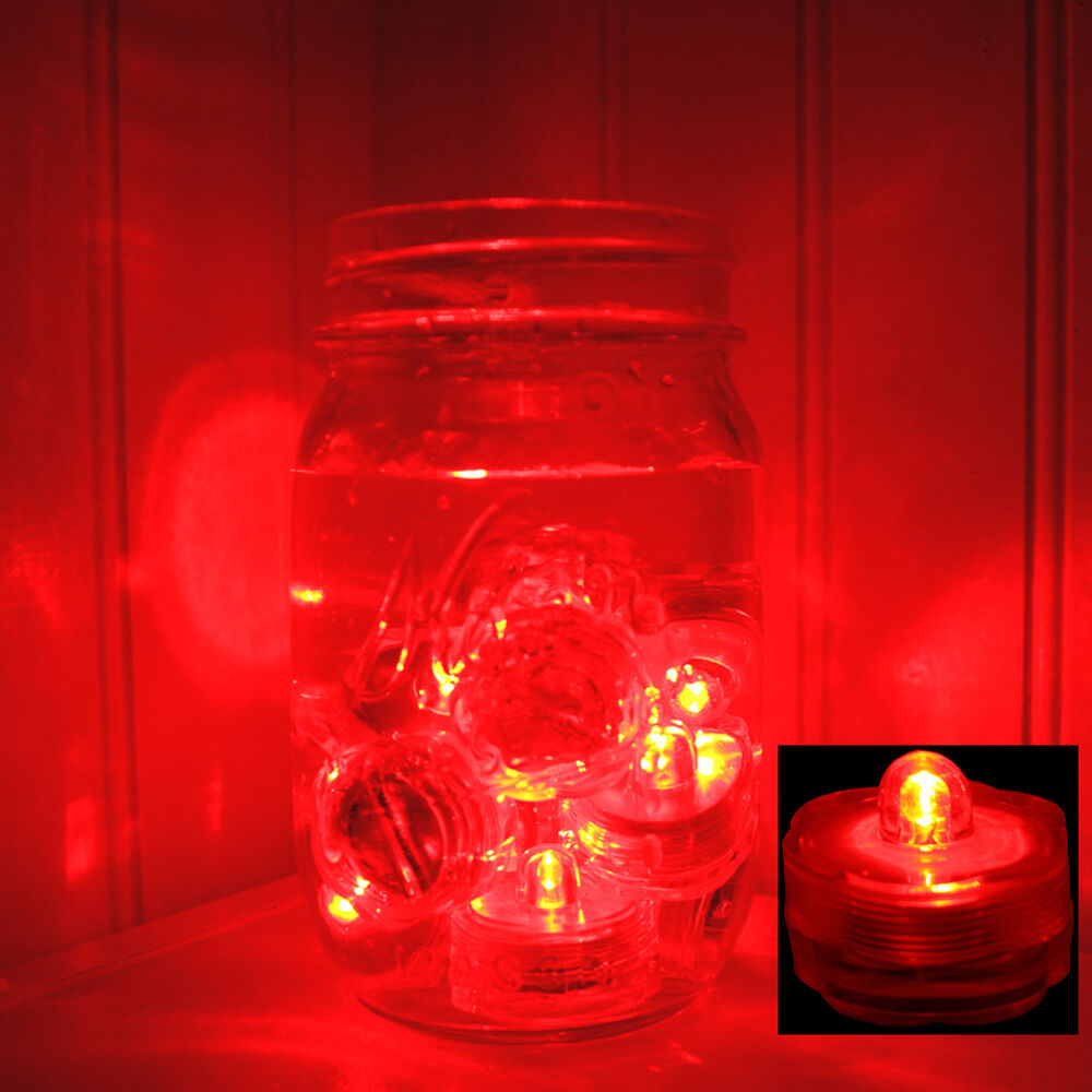 Red pcs led submersible battery tea lights wedding