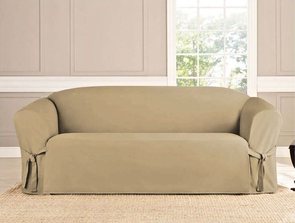 Micro Suede Slipcover Sofa Loveseat Chair Furniture Cover Taupe Brown Black Ebay