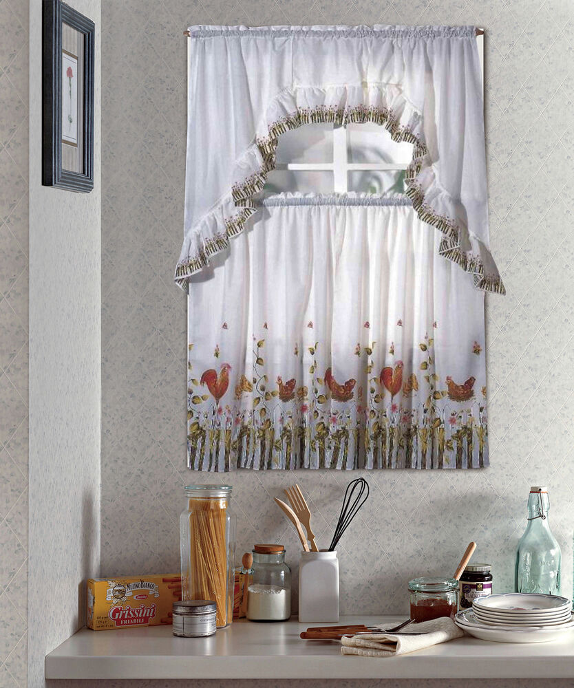 ROOSTER, COMPLETE TIER & SWAG SET, KITCHEN CURTAIN SET