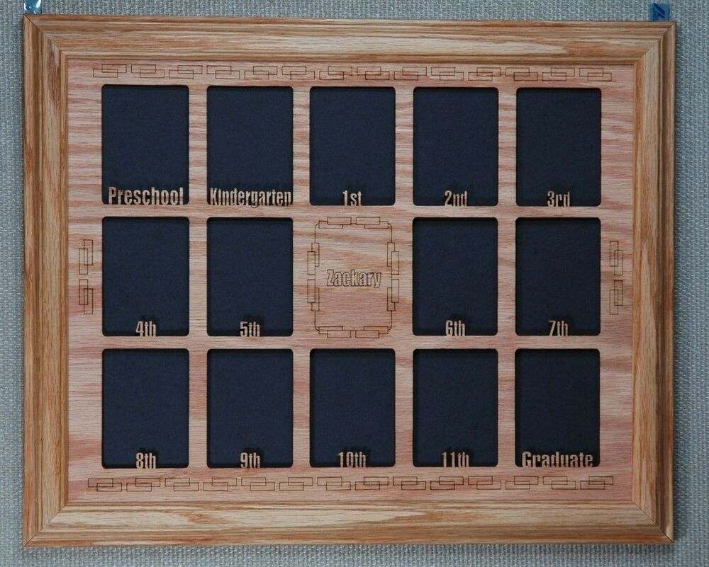 school years photo collage oak picture frame with personalized mat p 12 11x14 ebay. Black Bedroom Furniture Sets. Home Design Ideas
