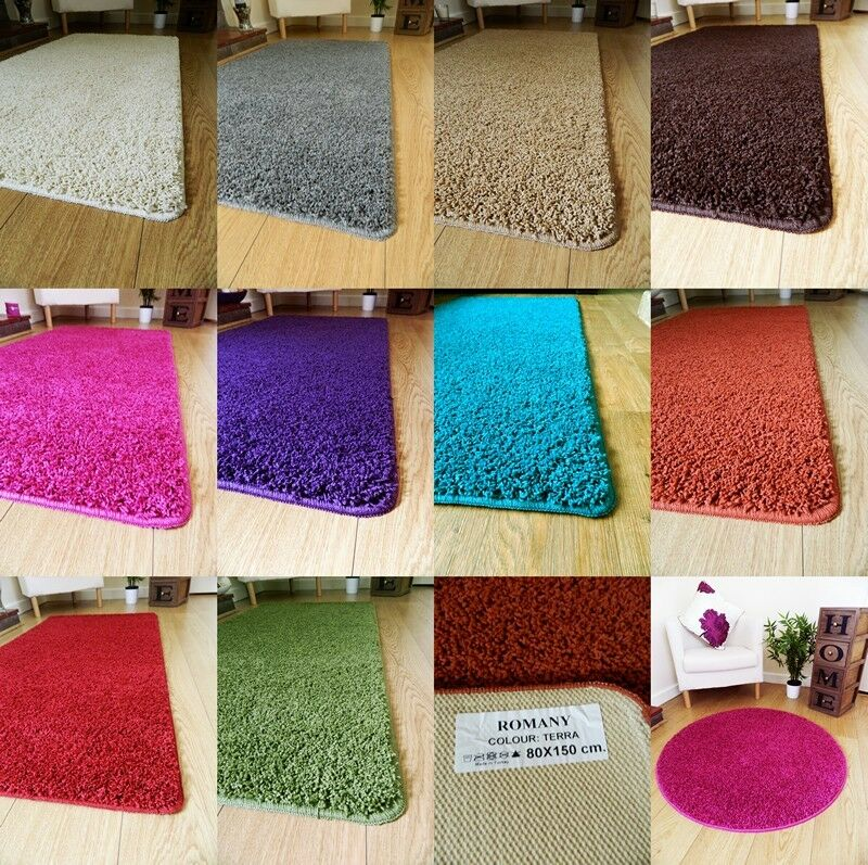 New soft plain shaggy mats machine washable non slip large for Small rug for bedroom