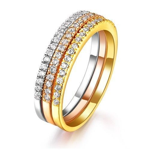 three rings gold silver copper cubic zirconia