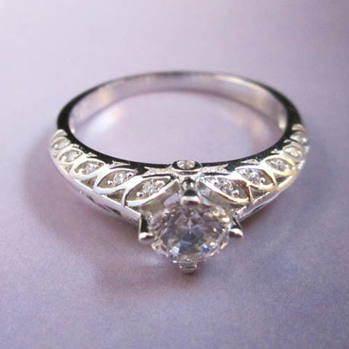 Italian Bands: STERLING SILVER CZ Italian Designed Engagement Band Ring
