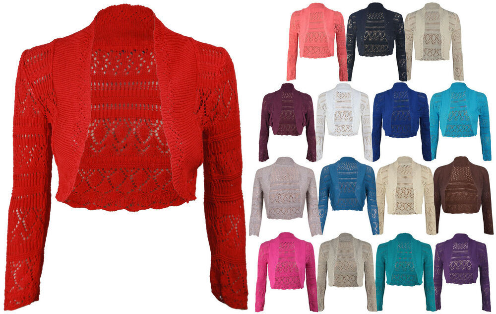 new ladies long sleeve crochet bolero shrug womens cropped knitted cardigan tops ebay. Black Bedroom Furniture Sets. Home Design Ideas