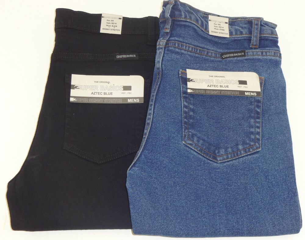 mens skinny slim fit stretch jeans black blue waist size 28 30 32 34 36 38 40 ebay. Black Bedroom Furniture Sets. Home Design Ideas