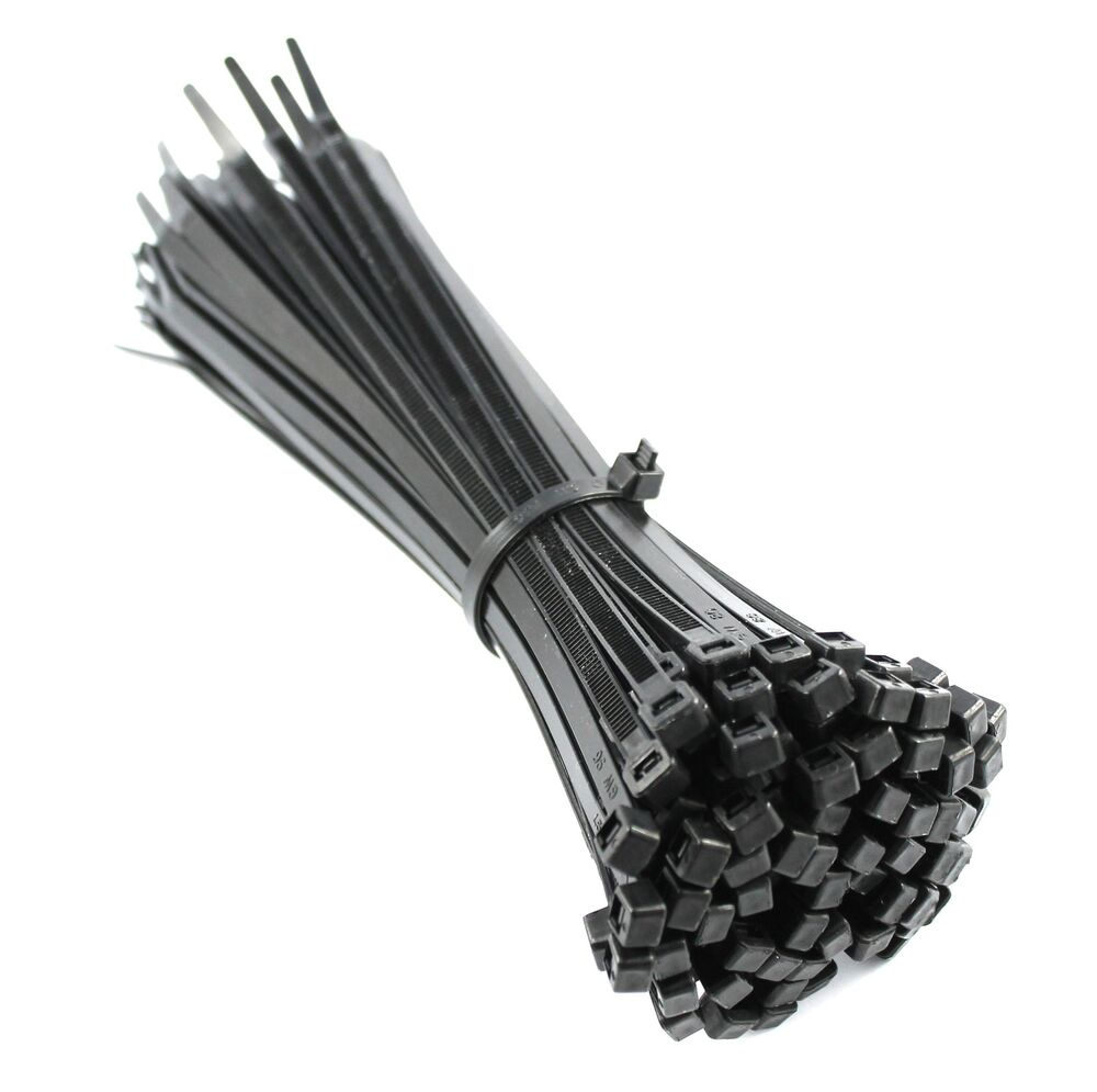Black Wire Ties : Mm black nylon cable ties zip for